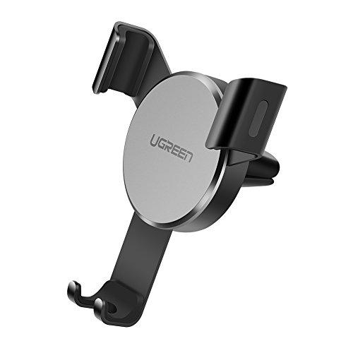 UGREEN Support Téléphone Voiture Gravité à Grille Aération en Aluminium Compatible avec iPhone XS Max XR X 8 7 6, Samsung S10 S9 S8 A50 J6, Huawei P20 Lite Mate 20, Redmi Note 7, GPS (Gris)