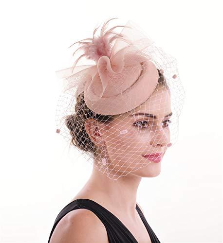 Lucky Leaf Damen Fascinator Haarspange Haarspange Hut Feder Cocktail Hochzeit Tee Party Hut und Haarband für Frauen Gr. 85, 7-dark Pink -