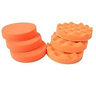Kingbarney Profi Polierschwamm Set 6 teilig - 3 x Polierschwamm orange medium 150mm + 3 x Polierschwamm orange medium gewaffelt - Kletthaftend für die perfekte Politur