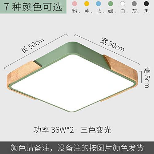 Lámpara de sala de estudio ultradelgada led de hierro forjado personalidad lámpara cuadrada 50 * 50 cm de tres tonos de luz negro