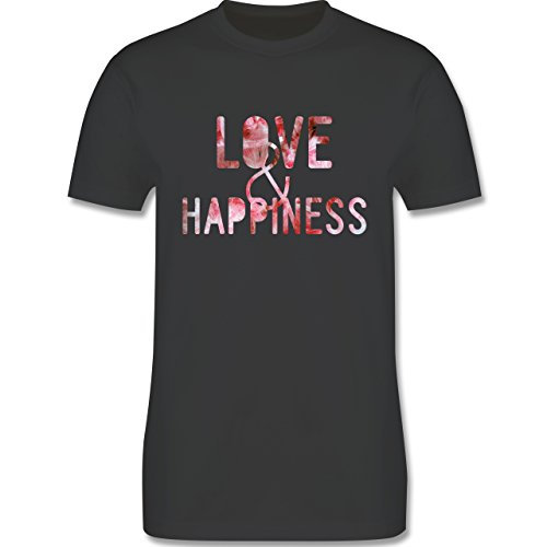 Statement Shirts - Love & Happiness Pink - Herren Premium T-Shirt Dunkelgrau