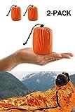 HONYAO Sacco a Pelo d'Emergenza, Coperta di Sopravvivenza Riutilizzabile, Coperta di Isolamento Termico di Primo Soccorso per Outdoor Campeggio Trekking Viaggiare Arancione - Due Pezzi