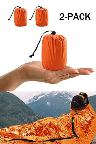 HONYAO Notfall Überleben Schlafsack, Survival Biwak Sack Erste Hilfe Rettungsdecken Wasserdicht Notfalldecke Ultraleicht Hitzeabweisend Kälteschutz für Outdoor Camping Wandern (2 Stück)