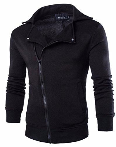 Men's Novelty Oblique Zipper Casual Sweatshirts Black