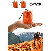 HONYAO Saco de Emergencia Dormir, Supervivencia Bivvy Manta, Impermeable Aislamiento Térmico Albergue, Brillante Naranja, Ligero y Reutilizable para Acampar Supervivencia Al Aire Libre - 2 Pack