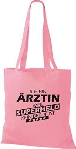 Shirtstown Stoffbeutel Ich bin Ärztin, weil Superheld kein Beruf ist rosa
