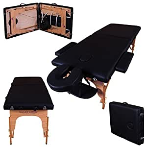 Massage Imperial Lightweight Professional Black 2-Section Portable Massage Table Couch Bed Spa