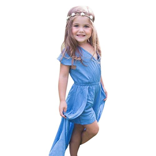 Kinderkleidung Overall Baby,Yanhoo Kindermode Sommer Baby Mädchen V-Ausschnitt Rockabilly Kleinkind Kleidung Party Jumpsuit Schön Kleid Overalls (90, Blau)