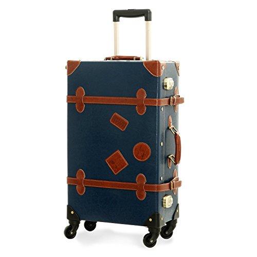 UNITRAVEL Koffer Vintage Hartschale 55 Zentimeter 31 Liter 4 Räder Blau TSA Schloss
