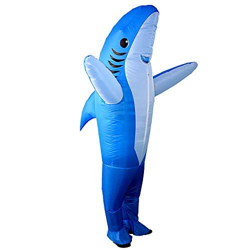 FunClothing Aufblasbares Kostüm für Erwachsene, Hai Kostüm, Verrücktes Kleid, Ideal für Aquarienaktivitäten, Partys, Strand (blau)