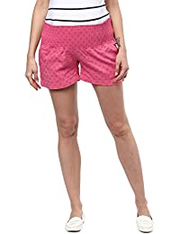 MamaCouture Maternity Navy Blue, pink, white, blue checks Cotton Lycra shorts for womens