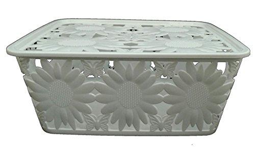 CrownLit Multipurpose Storage Basket with Lid and Floral Design,Color:White