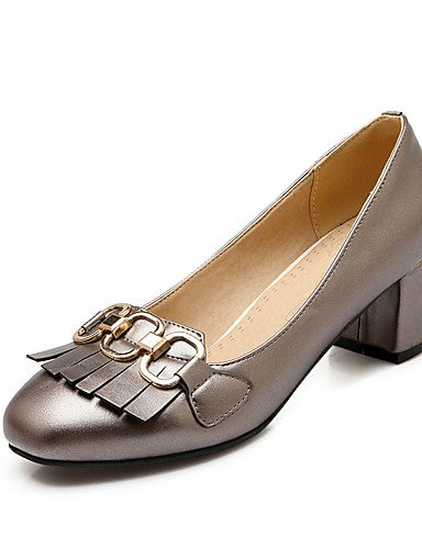 WSS 2016 Chaussures Femme-Bureau & Travail / Habillé / Décontracté-Noir / Rose / Gris / Amande-Gros Talon-Talons / Escarpin Basique / Bout Carré- almond-us6.5-7 / eu37 / uk4.5-5 / cn37