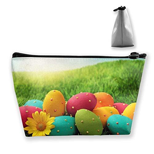 Die bunten Eier der Frauen auf grünem Gras-fröhlichen Ostern-Make-up sackt tragbare Reißverschluss-Kosmetik-Tasche EIN