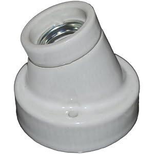 Porzellanfassung E27 - abgewinkelter Sockel 30°