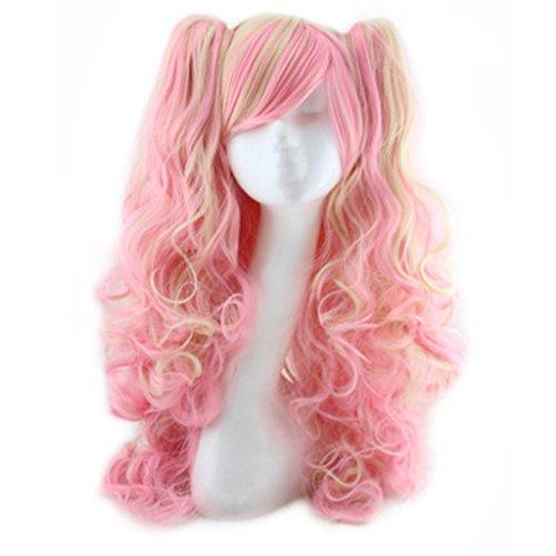 CJJC- Lolita Perücken Mode Hitzebeständige Frauen Lange Lockige Multi Haar Perücke Für Cosplay/Kostüm/Halloween Party,Pink (Langen Lockigen Roten Perücke Kostüm)