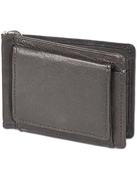 Rinaldo® - Geldflipper mit hochwertiger Geldspange aus glattem, naturbelassenem Rinderleder in Schwarz