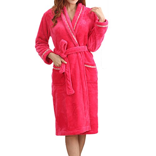 Zhhlaixing Winter Multi-Color Luxury Unisex Flannel Dressing Pigiama Gown Robe Rose Red