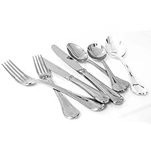 Oneida Donizetti High Quality Stainless Steel Cutlery Set - 26 Pieces Professional Dining Table Ware Culery Set Includes Serving Spoons