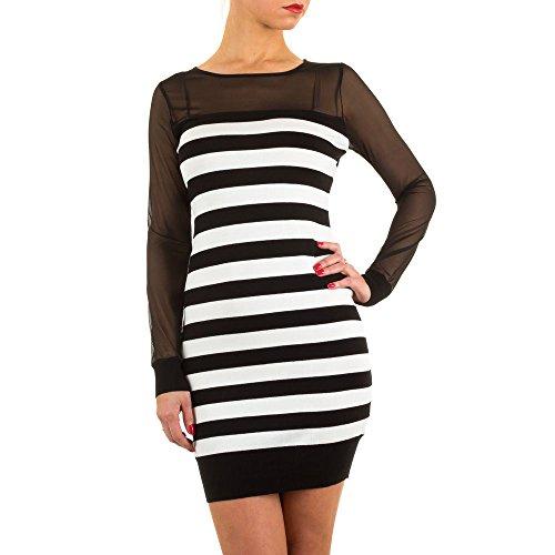 Geripptes Mini Kleid Für Damen bei Ital-Design Schwarz
