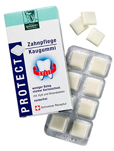 """BADERs PROTECT Zahnpflege Kaugummi Xylit. Weniger Belag, starker Kariesschutz. Zuckerfrei mit 100% Xylit. Vegan. Öko-Test """"GUT"""", perfekte Zahnpflege für unterwegs, Pharmazentralnummer: 04451478"""