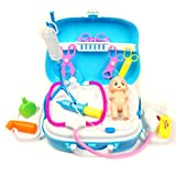 Avisha Collections Doctors Medical Kit For Kids - Role Play Fun Toys Gift For Boys Girls Age 3 Years And Up - Sliding Portable Suitcase With Wheels - With 18 PCS And Stickers - Latest Model