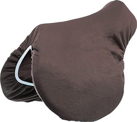 Fibre Fleece Saddle Cover, chocolat, élastique bleu