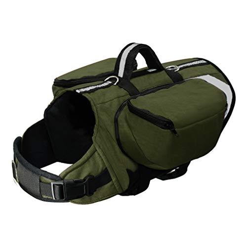 EULSV Outdoor Dog Rucksack Harness Hunde Pack Hound Reisen Camping Wandern Rucksäcke Satteltasche für mittlere große Hunde Green 44 to 62cm Chest - Tan Satteltasche