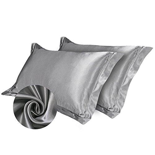 Wrighteu 1 par de Fundas de Almohada de satén de Seda para Pelo y Piel, 84 x 54 cm, Suave y cómodo...