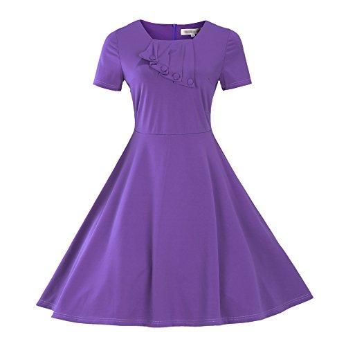 Dissa DP19 Damen Mode Rockabilly Swing Kleider Violett