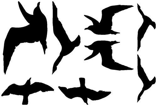 Samunshi® Wandtattoo Vogelschutzaufkleber Möwen-Set in 5 Größen und 25 Farben (30x20cm schwarz) (Wandtattoo Möwen)