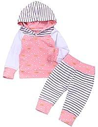 chicolife bebé niña con Capucha Floral Dulce Pantalones Conjuntos 2pcs con pantalón a Rayas Sudadera Traje Ropa