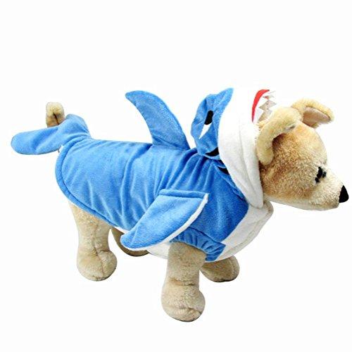 Hotumn Pet Kostüm Hund Shark Kostüm süsse Haustier Kleidung Hund Outfit für Winter Halloween Urlaub Mantel Hoodie für Katzen und Hunde, XL (Eine Shark Fin Kostüm)