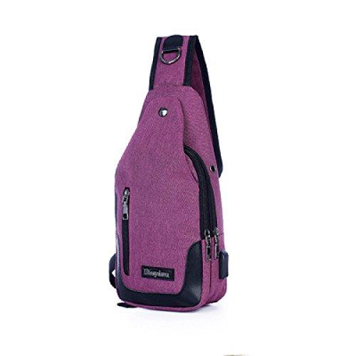 Herrenbrusttasche Schultertasche Messenger Bag Multifunktions-Outdoor-Sport-Paket Männer Paket purple