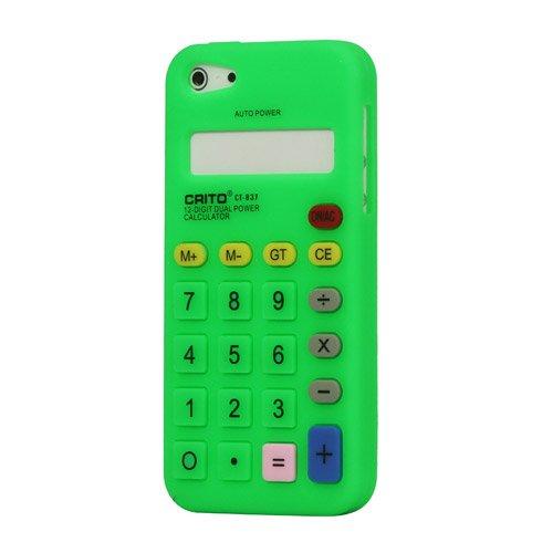"""iProtect Premium Taschenrechner Schutzhülle / Case / Cover / Silikon Case für das iPhone 5 in der """"3D Retro Calculator Edition"""" in GRÜN / green"""