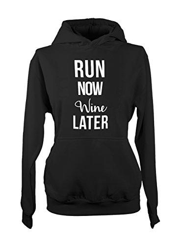 Run Now Wine Later Jogging Amusant Femme Capuche Sweatshirt Noir