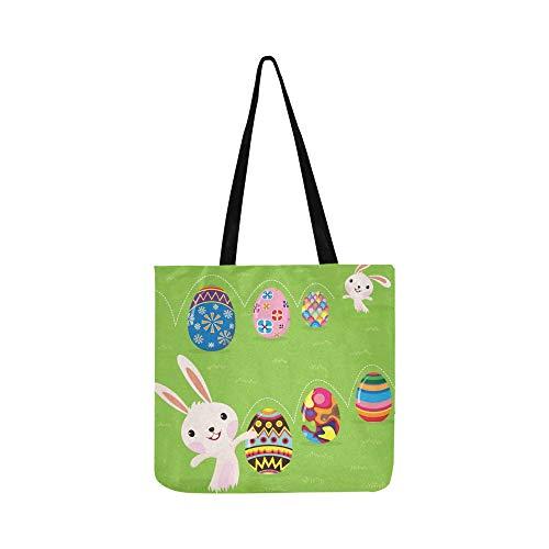 Easter Bunny Spielerisch Gemalte Eier Leinwand Tote Handtasche Umhängetasche Crossbody Taschen Geldbörsen Für Männer Und Frauen Einkaufstasche