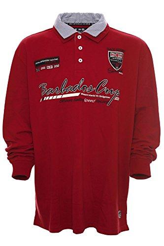 Kitaro Herren Langarm Shirt Poloshirt Hemdkragen -Barbados Cup - Rot