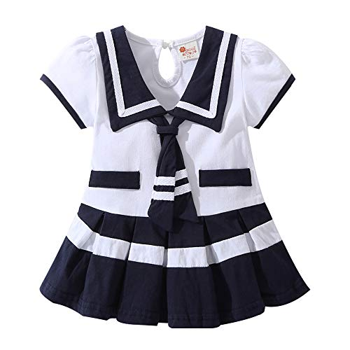 Lee Little Angel Girl Navy Rock Short Sleeve Baby Einteiliges Kleid (6-12 Monate, LD01)