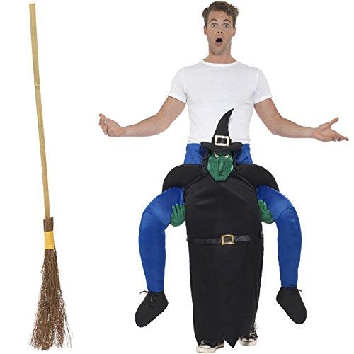 Oramics Halloween außergewöhnliches Horror Hexen Kostüm für Erwachsene, Huckepack, Trag Mich Piggyback mit Beinen inklusive Hexenbesen, witzige Kostümidee für Männer und Frauen, originelle (Die Oz Kostüme Halloween)