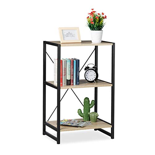 Relaxdays Standregal, Regal Industrial, niedriges Bücherregal mit 3 Fächern, HBT: 80x50x35 cm,...