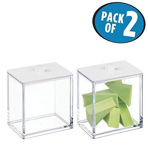(mDesign 2er-Set Wattepad Spender und Wattestäbchen Behälter – quadratischer Aufbewahrungsbehälter mit praktischem Deckel – Bad Accessoire aus Kunststoff für Kosmetikprodukte –durchsichtig und mattweiß)