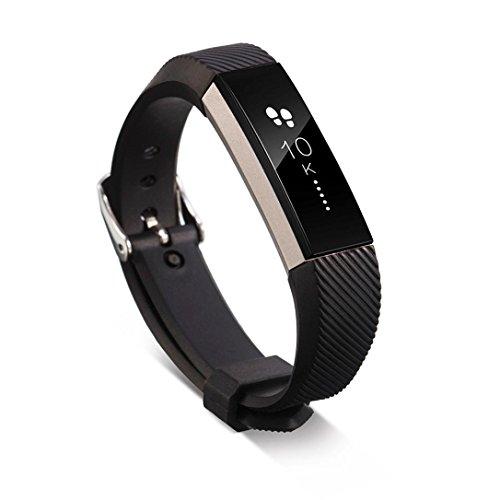 Fitbit Alta HR armband, SHOBDW Ersatz-Armband-Silikon-Armband-Verschluss für Fitbit Alta HR-Armbanduhr (Schwarz, 160-220mm)