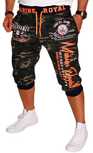 Herren Short Shorts Bermuda Kurze Hose Steetwear 3/4 Marine Royal Camouflage (B.3484) Camou-Orange XXL -