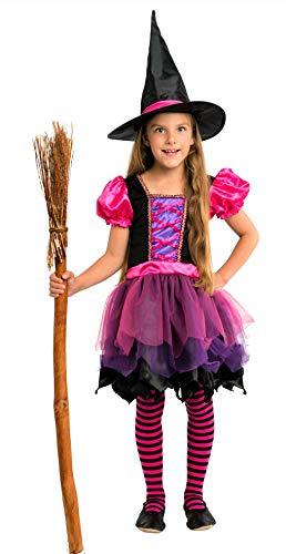 Schwarze Hexe Mädchen Kostüm - Magicoo Fee Hexenkostüm für Kinder Mädchen Halloween Pink-Lila-Schwarz mit Hut - schickes Halloween Kostüm Hexe Kind, Gr. 110-140 (122/128)
