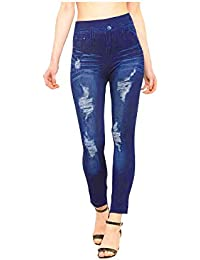 Infispace Women's Rugged Denim Look Lycra Jeggings (Medium, SHAD33-143, Blue)