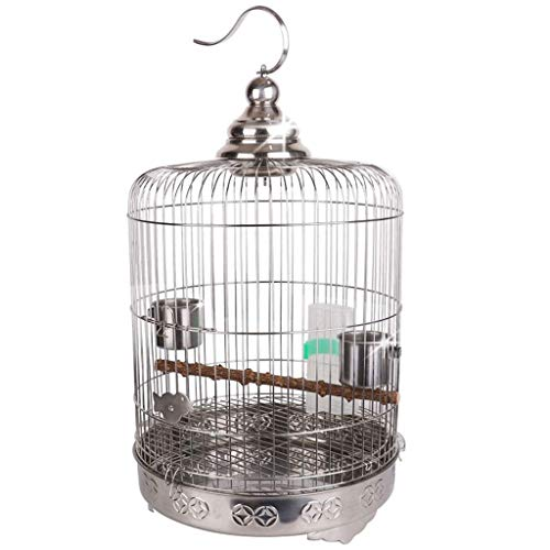HIZLJJ Gabbia for uccelli Gabbia for voli pesanti in ferro battuto for aliante di zucchero Parrocchetto di pappagallo Cacatua con persico in legno Portaoggetti Ruote del supporto di rotolamento, Gabbi