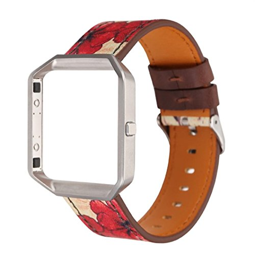 Fashion Leather Strap Replacement WatchBand&Frame Holder Shell For Fitbit Blaze,Motivator and Activity Tracker Sport Accessory Wristband Watch Smart Watch Jimmkey (wrist 150-225MM, C)