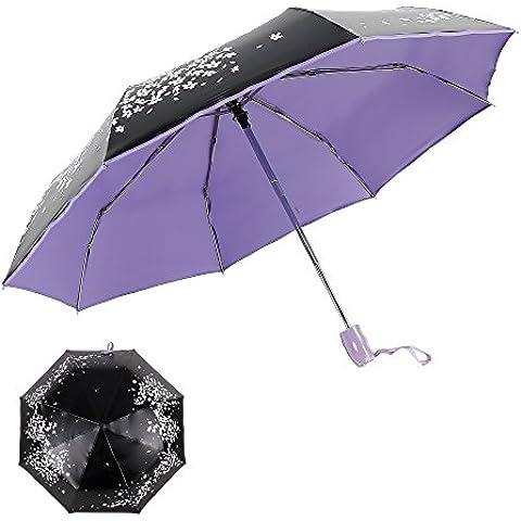 renzer ombrello da viaggio compatto pioggia ombrello antivento ombrello pieghevole per donna automatico open/close durata Cherry Sunny ombrelli Viola