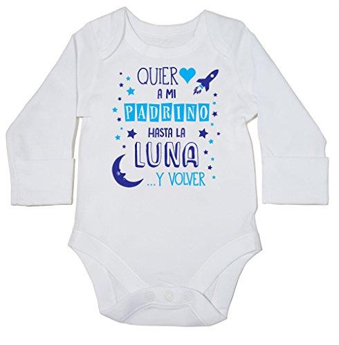 HippoWarehouse ¡Quiero a mi Padrino hasta la Luna y volver! (Azul) momento body manga larga bodys pijama niños niñas unisex